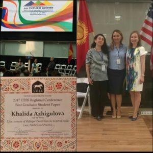 CESS 2017 Regional Conference Graduate Paper Award winner Khalida Azhigulova (on the right)
